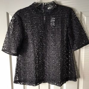 LOFT charcoal gray lace shell NWT